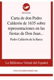 Carta de don Pedro Calderón de 1635 sobre representaciones en las fiestas de Don Juan del Buen Retiro