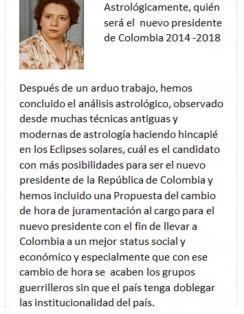 ASTROLOGICAMENTE QUIEN SERA EL PRESIDENTE DE COLOMBIA 2014-2018